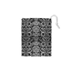 Damask2 Black Marble & Silver Brushed Metal Drawstring Pouch (xs)