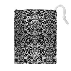 DMS2 BK MARBLE SILVER Drawstring Pouches (Extra Large)