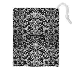 Damask2 Black Marble & Silver Brushed Metal Drawstring Pouch (xxl)