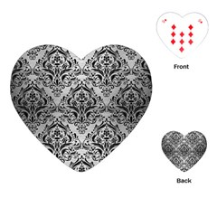Damask1 Black Marble & Silver Brushed Metal (r) Playing Cards (heart)