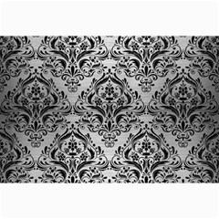 Damask1 Black Marble & Silver Brushed Metal (r) Collage 12  X 18