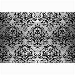 Damask1 Black Marble & Silver Brushed Metal (r) Collage 12  X 18