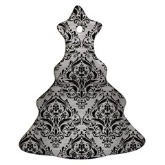 Damask1 Black Marble & Silver Brushed Metal (r) Christmas Tree Ornament (two Sides)