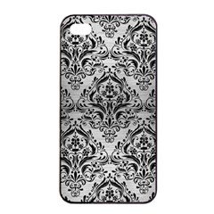 Damask1 Black Marble & Silver Brushed Metal (r) Apple Iphone 4/4s Seamless Case (black)