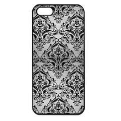 Damask1 Black Marble & Silver Brushed Metal (r) Apple Iphone 5 Seamless Case (black)