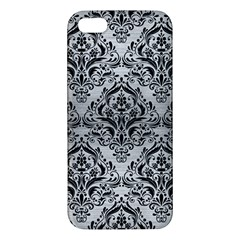 Damask1 Black Marble & Silver Brushed Metal (r) Apple Iphone 5 Premium Hardshell Case