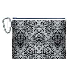 Damask1 Black Marble & Silver Brushed Metal (r) Canvas Cosmetic Bag (large)