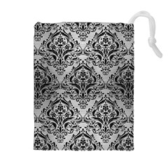Damask1 Black Marble & Silver Brushed Metal (r) Drawstring Pouch (xl)
