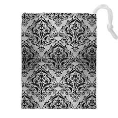 Damask1 Black Marble & Silver Brushed Metal (r) Drawstring Pouch (xxl)