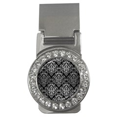 Damask1 Black Marble & Silver Brushed Metal Money Clip (cz)
