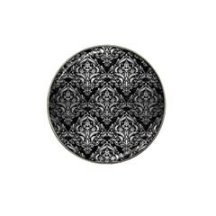 Damask1 Black Marble & Silver Brushed Metal Hat Clip Ball Marker (10 Pack)