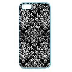 Damask1 Black Marble & Silver Brushed Metal Apple Seamless Iphone 5 Case (color)