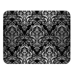 Damask1 Black Marble & Silver Brushed Metal Double Sided Flano Blanket (large)