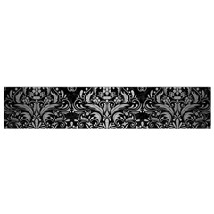 Damask1 Black Marble & Silver Brushed Metal Flano Scarf (small)