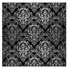 Damask1 Black Marble & Silver Brushed Metal Large Satin Scarf (square)