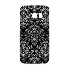 Damask1 Black Marble & Silver Brushed Metal Samsung Galaxy S6 Edge Hardshell Case