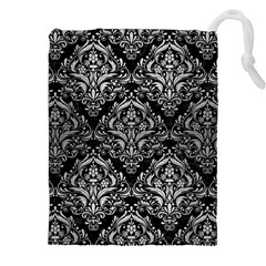Damask1 Black Marble & Silver Brushed Metal Drawstring Pouch (xxl)