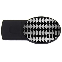 Diamond1 Black Marble & Silver Brushed Metal Usb Flash Drive Oval (4 Gb)