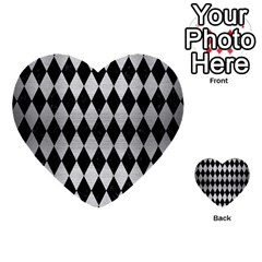 Diamond1 Black Marble & Silver Brushed Metal Multi Purpose Cards (heart)