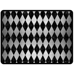 Diamond1 Black Marble & Silver Brushed Metal Fleece Blanket (large)