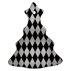 Diamond1 Black Marble & Silver Brushed Metal Christmas Tree Ornament (two Sides)
