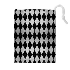 DIA1 BK MARBLE SILVER Drawstring Pouches (Extra Large)