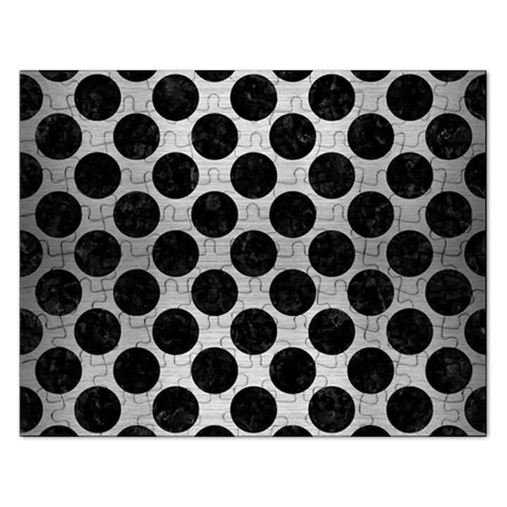 CIRCLES2 BLACK MARBLE & SILVER BRUSHED METAL (R) Jigsaw Puzzle (Rectangular)