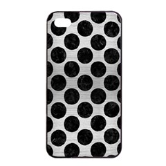 Circles2 Black Marble & Silver Brushed Metal (r) Apple Iphone 4/4s Seamless Case (black)