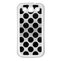 Circles2 Black Marble & Silver Brushed Metal (r) Samsung Galaxy S3 Back Case (white)