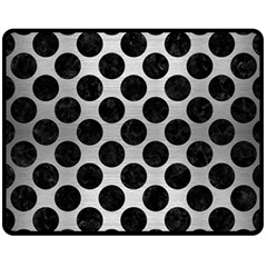 Circles2 Black Marble & Silver Brushed Metal (r) Double Sided Fleece Blanket (medium)