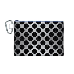 Circles2 Black Marble & Silver Brushed Metal (r) Canvas Cosmetic Bag (medium)