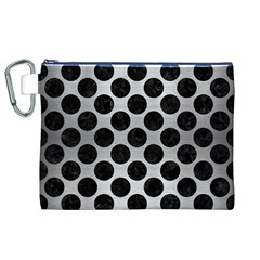Circles2 Black Marble & Silver Brushed Metal (r) Canvas Cosmetic Bag (xl)