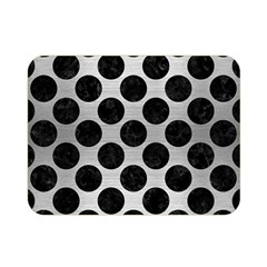 Circles2 Black Marble & Silver Brushed Metal (r) Double Sided Flano Blanket (mini)