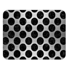 Circles2 Black Marble & Silver Brushed Metal (r) Double Sided Flano Blanket (large)