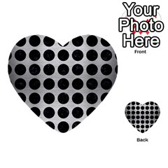 Circles1 Black Marble & Silver Brushed Metal (r) Multi Purpose Cards (heart)