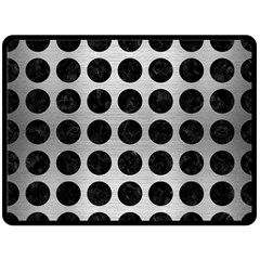 Circles1 Black Marble & Silver Brushed Metal (r) Double Sided Fleece Blanket (large)