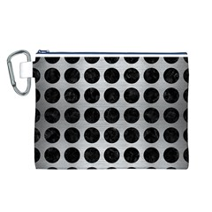Circles1 Black Marble & Silver Brushed Metal (r) Canvas Cosmetic Bag (large)