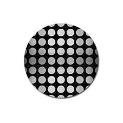 Circles1 Black Marble & Silver Brushed Metal Magnet 3  (round)