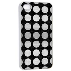 Circles1 Black Marble & Silver Brushed Metal Apple Iphone 4/4s Seamless Case (white)
