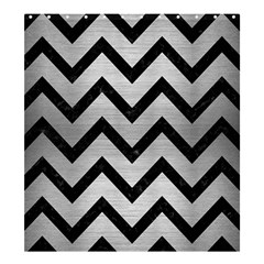 Chevron9 Black Marble & Silver Brushed Metal (r) Shower Curtain 66  X 72  (large)