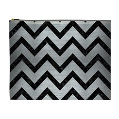 Chevron9 Black Marble & Silver Brushed Metal (r) Cosmetic Bag (xl)