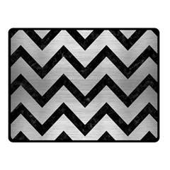 Chevron9 Black Marble & Silver Brushed Metal (r) Fleece Blanket (small)