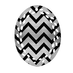 Chevron9 Black Marble & Silver Brushed Metal (r) Oval Filigree Ornament (two Sides)