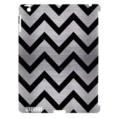 Chevron9 Black Marble & Silver Brushed Metal (r) Apple Ipad 3/4 Hardshell Case (compatible With Smart Cover)