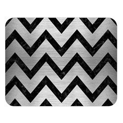 Chevron9 Black Marble & Silver Brushed Metal (r) Double Sided Flano Blanket (large)