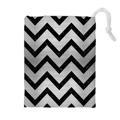CHV9 BK MARBLE SILVER (R) Drawstring Pouches (Extra Large)