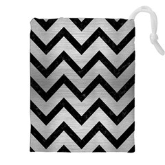 Chevron9 Black Marble & Silver Brushed Metal (r) Drawstring Pouch (xxl)