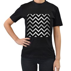 Chevron9 Black Marble & Silver Brushed Metal Women s T Shirt (black) (two Sided)