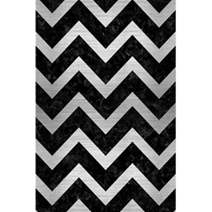Chevron9 Black Marble & Silver Brushed Metal 5 5  X 8 5  Notebook