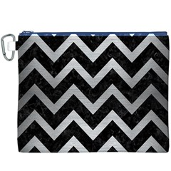 Chevron9 Black Marble & Silver Brushed Metal Canvas Cosmetic Bag (xxxl)